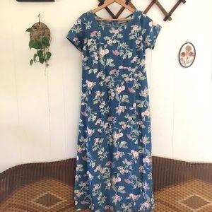 90's Chambray Floral Maxi Dress
